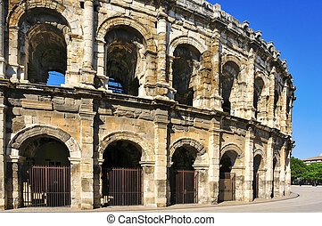 Roman amphitheatre of Nimes, France - a view of the Roman...