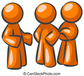 Three Orange Men Conversing - Three orange men having a...