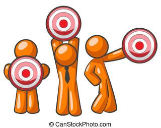 Orange Man Target Audience - Three orange men holding...