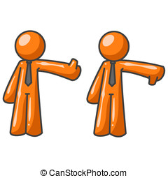 Orange Man Critics Thumbs Up Thumbs Down - Two orange men...