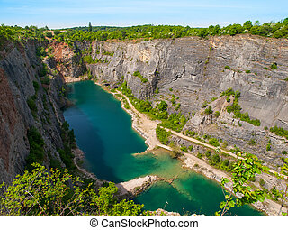 Old lime quarry called Big Amerika in Central Bohemia, Czech...