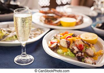 varietà, frutti mare, vetro, cucina,  prosecco, italiano