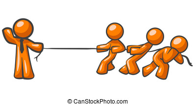 Orange Man Tug of War - An orange man holding a rope while...