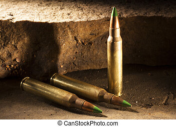 Three armor piercing cartridges - Rifle cartridges with a...