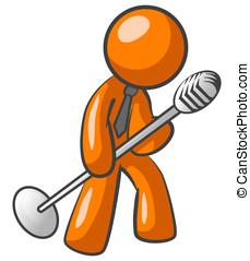 Orange Man Speaking into a Mic - An orange man speaking or...