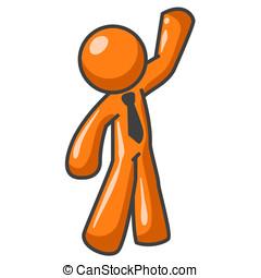 Orange Man Waving Hi - An orange man exciited and waving hi...
