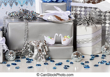 Wedding Gifts - Silver and blue-wrapped wedding (or silver...
