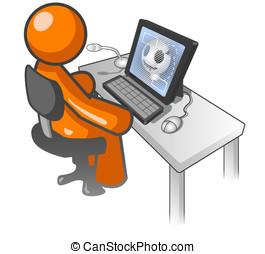 Orange Man Computer X Ray Monitor - An orange man sitting at...