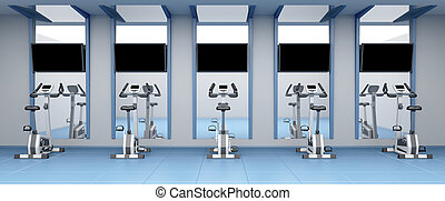 Stationary bicycles in gym - Exercise bikes in a row at...