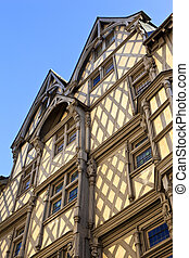 Half-timbered house - Facade of an half-timbered house in...