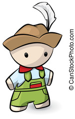 Little Swiss Man with Feather Hat - A little swiss man with...