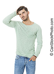 young man in casual fashion on white - Puzzled handsome...
