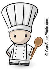 Small Chef Holding Spoon - A small chef holding a spoon and...