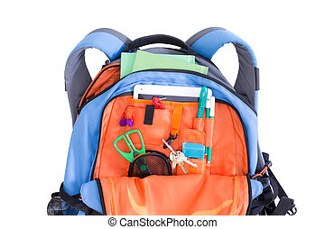 Orange and blue kids school backpack packed with a tablet,...