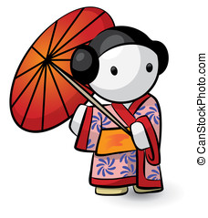 Geisha Holding Umbrella In Kimono Looking Cute - A little...