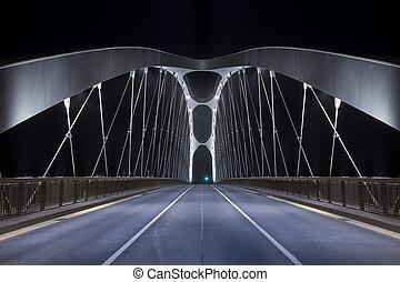Modern Bridge at night - Road on modern frame bridge...