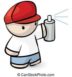 Cute Kid Spraypaint Vandal - A cute kid holding a spray can...