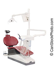 Dentist chair and equipment on a white background