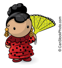 Spanish Girl with Fan - A spanish girl with red dress...