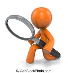 3d Orange Man Magnifying Glass - An orange man detective,...