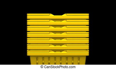 Closeup Of Yellow Shopping Baskets On Black Background 3D...