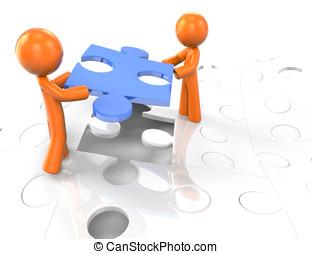 3d Orange Man Puzzle Team Concept - Two orange men setting a...