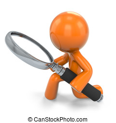 3D Orange Man Kneeling Down With A Magnifying Glass - 3D...