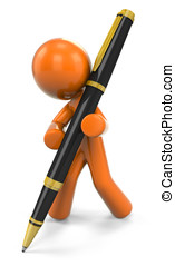 3D Orange Man Writing With Pen - 3D Orange Man Writing With...