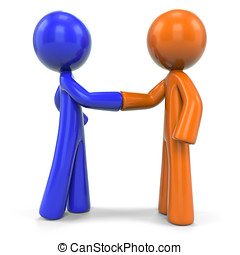 Orange and Blue Man Closing Deal - An orange and blue men...