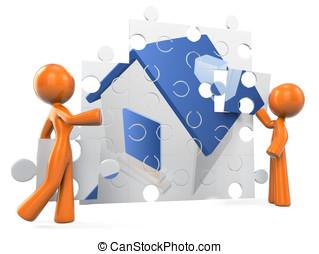 3d Orange Man Home Building