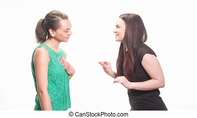 fun conversation of two girlfriends - two best friends get...