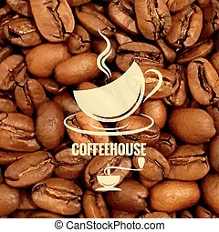 coffee cup design beans background