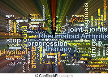 Rheumatoid arthritis RA background concept glowing -...