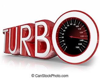 Turbo Red 3d Word Speedometer Fast Racing - Turbo word in...