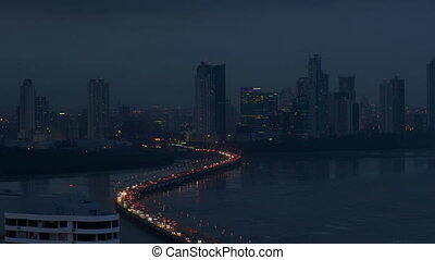 Panama City Night View Of Traffic Cars On Highway1 - Panama...