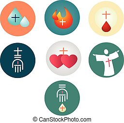 Sacraments c - Vector illustration or drawing of the 7...