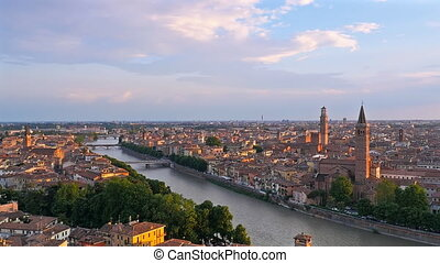verona skyline at the sunset pan - verona cityscape skyline...