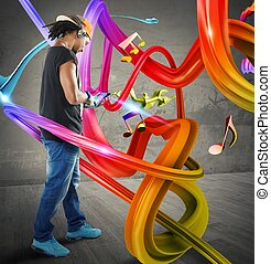 Music in colorful waves - Boy listen to music in colorful...