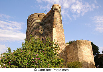 Old medieval tower in Baku, Azerbaijan