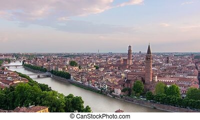 verona skyline at the sunset - verona cityscape skyline time...