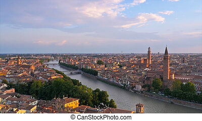 verona skyline at the sunset - panoramic view of verona at...