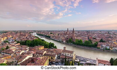 verona skyline cityscape sunset - verona skyline at the...