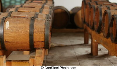 wine barrels in row old winery - dolly shot of wine casks in...
