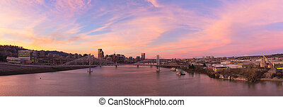 AlpenglowSunset Over Portland City Skyline - Alpenglow...