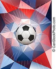 France Soccer Ball Background - Soccer Ball Over Polygonal...