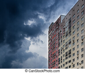Modern High-Rise Apartment and Cloudy Dark Sky - Single...