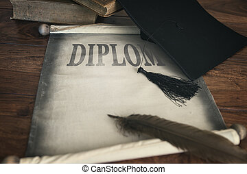 Mortar board and diploma, with text diplom and feather