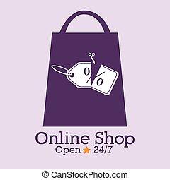 Shopping online design over white background, vector...