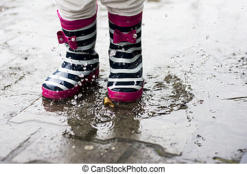 Jumping in a muddy puddles