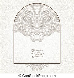 light floral frame on paisley background with place for your...